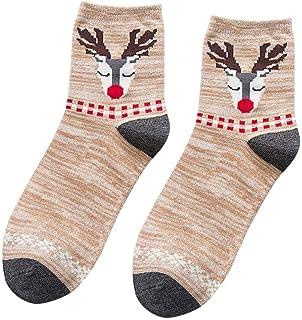 VJGOAL, Moda casual mujer Elk de Navidad tejido liso Estampado fino Cómodo Transpirable Calcetín de algodón Medias medias(Un tamaño,Café)