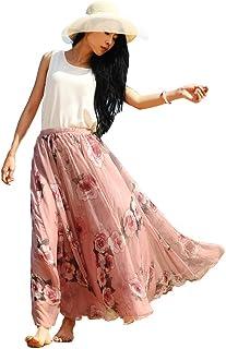 6a60c7f4198679 Oneworld Damen Frauen Lang Chiffon Bohemien Bodenlang Maxi Rock  Strandkleider Kleider Frühling Sommer