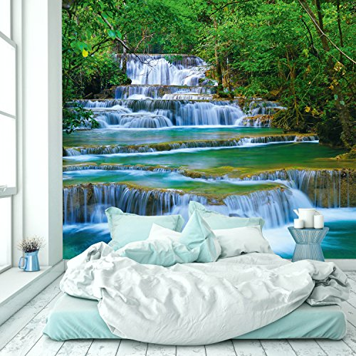 murimage Photo Wallpaper Waterfall 274 x 254 cm Including Paste Wall Mural 3D Forest River Jungle Asia Trees