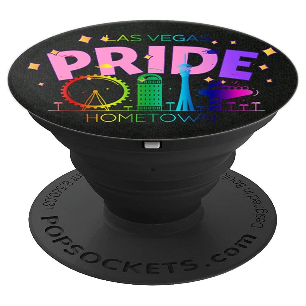 Las Vegas Rainbow Hometown Skyline LGBTQ Pride Support - PopSockets Grip and Stand for Phones and Tablets