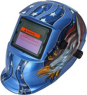 IEIK Solar Powered Welding Helmet Auto Darkening Hood with Adjustable Shade Range 4/9-13 for Mig Tig Arc Welder Mask (Blue Eagle Design)