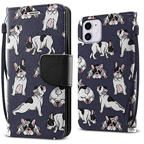 FINCIBO Fashionable Flap Wallet Pouch Cover Case + Card Holder Kickstand Compatible with Apple iPhone 12 mini 5.4 inch 2020 - French Bulldog Funny Playful Postures