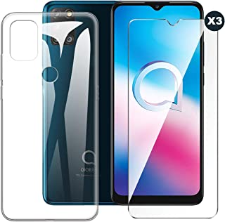 Varumärken LJSM fodral till Alcatel 3X 2020 + [3 del] skärmskydd i härdat glas – transparent silikon mjukt TPU-skal för Al...