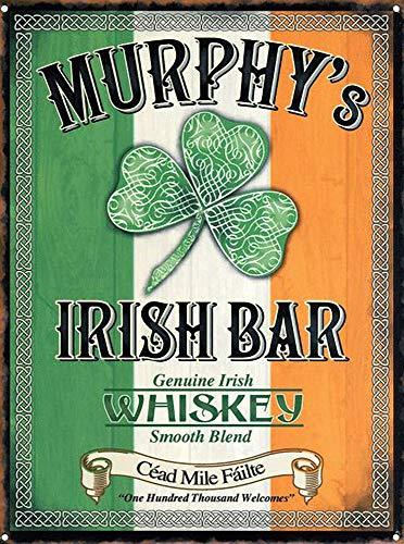 WallAdorn Murphy's Irish Bar Genuino Whisky Irlandés Cartel de Hierro Pintura Cartel de Chapa Vintage decoración de Pared para Cafe Bar Pub Inicio Cerveza Decoración Artesanía