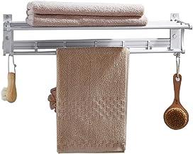 Hooked handdoekenrek, punch-free ruimte aluminium dubbel opvouwbaar handdoekenrek, badkamer plank, badkamer handdoekenrek,