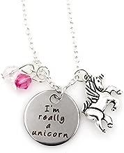 Glazed Black Cherry Whimsical - I'm Really A Unicorn Coin Pendant Necklace - Unicorn Charm - Beaded Accent - uni1