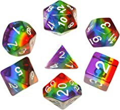 Polyhedral DND Dice Set Transparent Rainbow Dice Compatible Dungeons and Dragons Role Playing Game(RPG),MTG,Pathfinder,Table Game,Board Games Dice Set (Upgrade Rainbow)