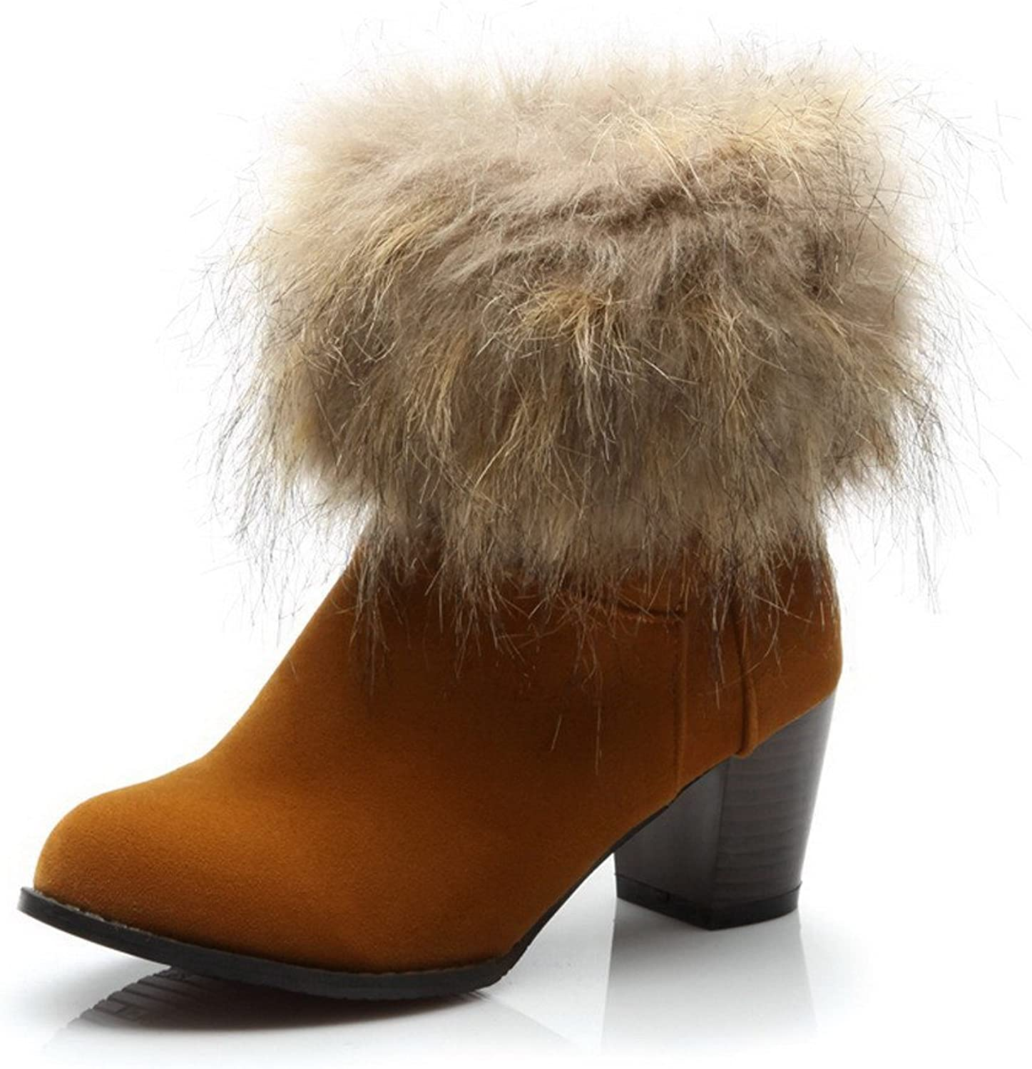 WeenFashion Women's Close Round Toe Platform Fur Ornament Chunky Heels PU and Frosting Ankle High Boots