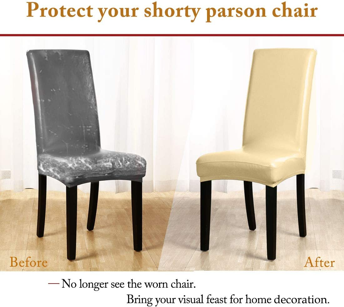 sourcing map Stretch Artificial Leather Shorty Dining Room Chair Covers Faux PU Fabric Slipcovers Black 1PC