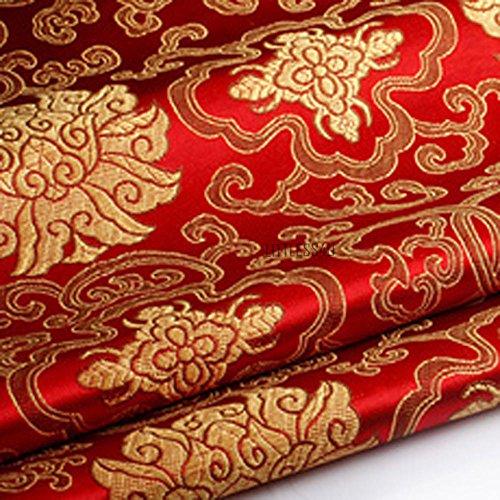 Tessuto Broccato Con Rcami Floreali Scampolo Tessuto Damascato Tessuto Antimacchia Cinese In Finta Seta,100X90Cm (Rosso, Venduto Al Metro)