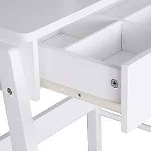 WOLTU MB6042ws Tavolo da Trucco Specchiera con Sgabello Tavolino Organizer per Cosmetici Toeletta con Specchio Cassetto in Legno Bianco