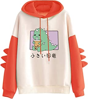 N-B Sudaderas con Capucha para Mujer Primavera Invierno -Empalme Dinosaurio Verde Japonés Anime Hoodie Casual Moda Chica 2...