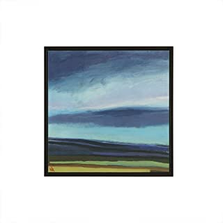 Madison Park Evening Sky Wall Art-Multi Blue, Green with Black Frame Modern Home Décor Painting Gel Coat Canvas