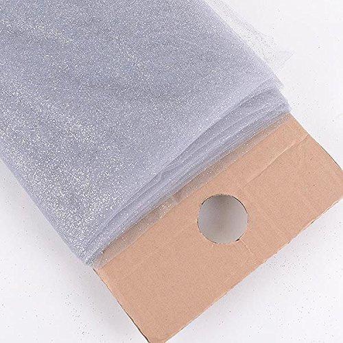 """AK TRADING Premium Glitter Tulle Fabric Bolt, 54"""" W, Silver"""