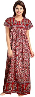 YUKATA Womens Cotton Printed Nighty, Free Size.(gujri Brown)