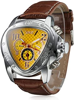 Men's Automatic Mechanical Triangle Dial Leather Band Wrist Watch - Yellow