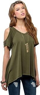 Urban CoCo Women's Vogue Shoulder Off T-Shirts Wide Hem Design Top