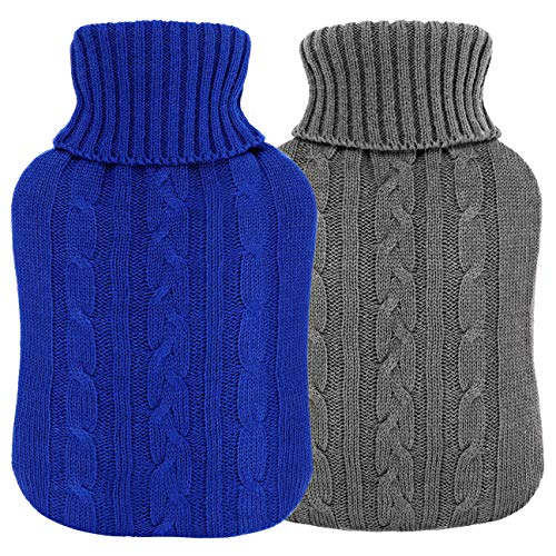 VINTONEY 湯たんぽ 2個セット 容量2.0L ニットカパー付き エコ湯たんぽ 注水式 暖かい 冷え 肩足腹対応 秋冬寒さ対策 暖房器具(グレー、濃い青)
