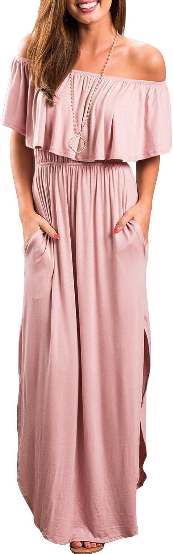 Women Long Maxi Dress Casual Party Off The Shoulder Ruffle Split Beach Pocket Dresses BK192