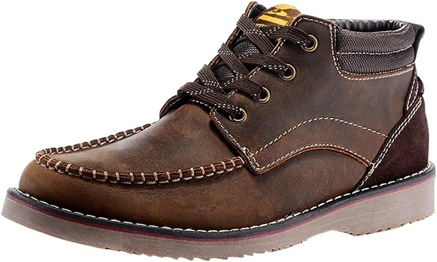 NANXZ Men's Autumn And Winter Leather Straps High Top Boots Outdoor