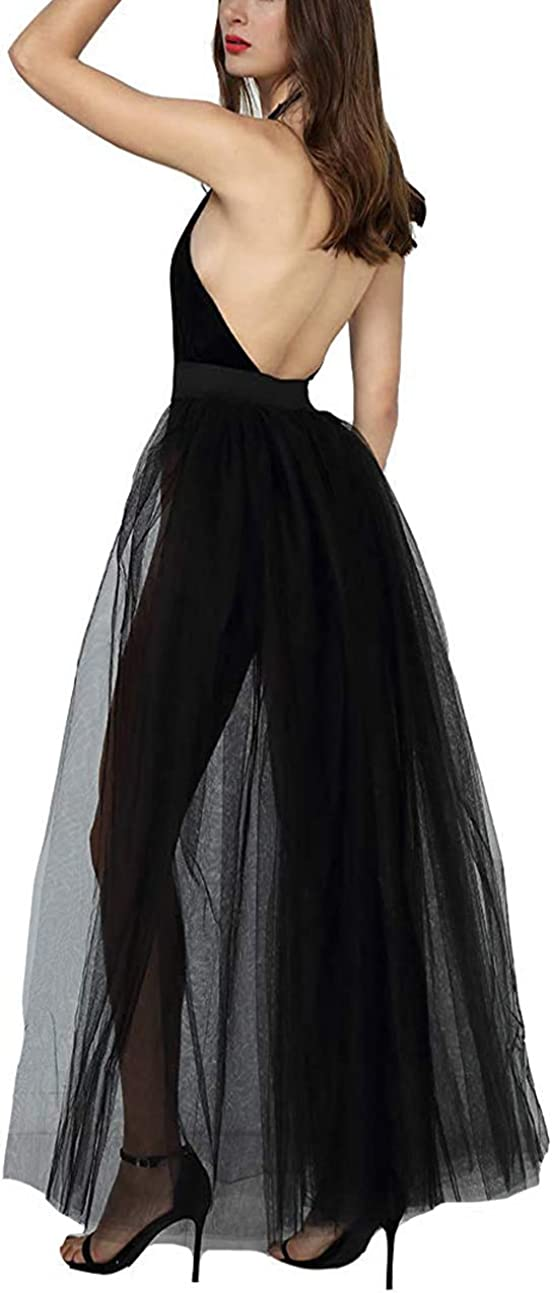 Womens Detachable Tulle Overskirts Long Layered Removeable Bridal Wedding Train Skirts Overlay Photo Shoot Tulle Skirt