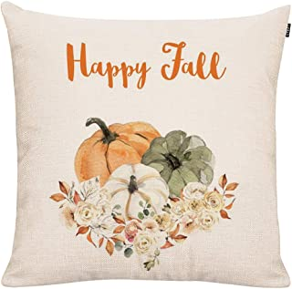 GTEXT Happy Fall Pumpkins with Flowers Throw Pillow Cover Farm Decorative Couch Pillow Cases Cotton Linen Pillow Country Style 18x18 inch