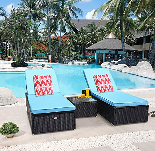 TUSY 2 Pieces Patio Chaise Lounge Sets, Outdoor Rattan Lounge Chairs with Coffee Table, Adjustable Back, Rattan Furniture and Cushion …