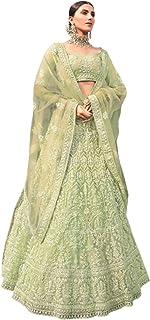 الزفاف الهندي والحفلات مصمم الأخضر شبكة الترتر والخيط التطريز ليهينغا غاغرا شولي دوباتا 6032
