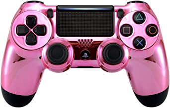 eXtremeRate Saruka Pink Chrome Pink Front Housing Shell Replacement Faceplate for Playstation 4 Slim Pro Controller JDM-040 JDM-050 JDM-055