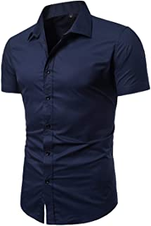 LOCALMODE Men's Regular Fit Cotton Business Casual Shirt Solid Short Sleeve Button Down Dress Shirts