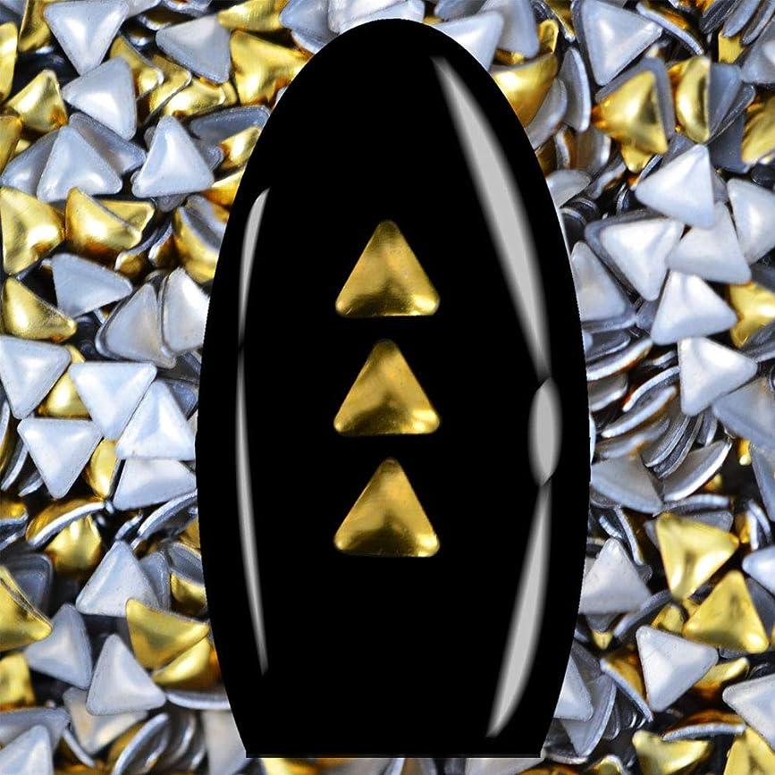 シャッフル送料学ぶメタルスタッズ ネイル用 50粒 STZ036 トライアングル ゴールド 3mm 三角スタッズ