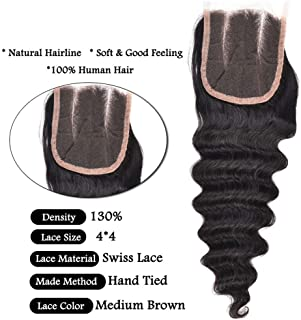 Loose Deep Wave Hair Closure 12 Inches 44 Lace Closure Middle Part Human Hair Loose Wave Closures 1 PC Virgin Ocean Wave Human Hair Top Lace Closure by Glamorous Remi Hair (12'' Lace Cosure)