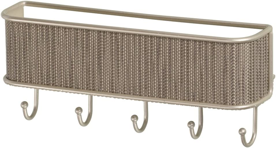 iDesign Twillo Mail, Letter Holder, Key Rack Organizer for Entryway, Kitchen - Wall Mount, Pearl Champagne