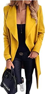 Women Casual Open Front Cardigan Lapel Woolen Trench Jacket