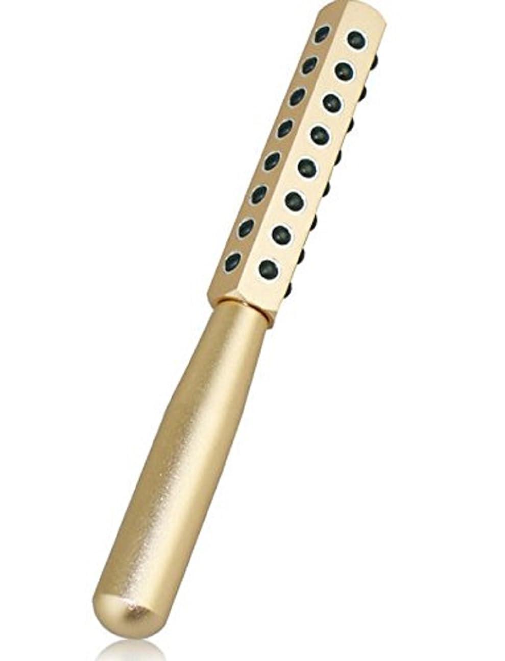 ひらめき横スキムCREPUSCOLO ゲルマローラー 美顔器 美肌 ハリ ツヤ ほうれい線 純度99% ゲルマニウム粒子40粒/額 ほほ 目じり あご~首すじ デコルテ 二の腕 手の甲 気になるところをコロコロ ゴールド シルバー (ゴールド)