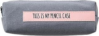 Leisial Estuche de Lápices con Cremallera Algodón Lino Bolsa de Lápices Plumas Bolígrafos Patrón de Alfabeto Inglés para Escolar Papelería 20cm*8cm*6.5cm