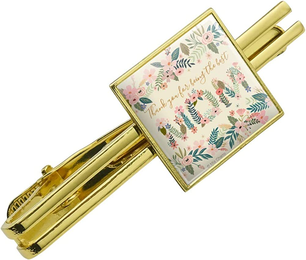 GRAPHICS & MORE Thank You for Being The Best Mom Mother's Day Square Tie Bar Clip Clasp Tack Gold Color