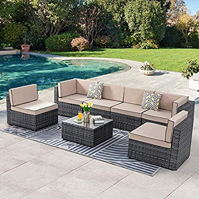 SUNLEI 7 Pieces Patio Conversation Set Outdoor Furniture Sets PE Rattan Low Back All-Weather Rattan Sectional Sofa Washable Cushions with Coffee Table (Silver Gray Rattan)?Black&Khaki?