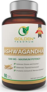 100% Pure Ashwagandha Root Powder. Supplement with 1000mg for Maximum Results in Relieving Stress and Anxiety for Men and Women Made in USA