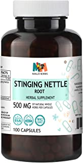 Stinging Nettle Root Capsules, 500 mg, Organic Stinging Nettle Root (Urtica Dioica) (100 Capsules)