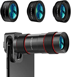 Phone Camera Lens - [Upgraded Version] AIKEGLOBAL iPhone Lens 4 in 1, 18X Zoom Telephoto Phone Lens, 120°Super Wide Angle ...