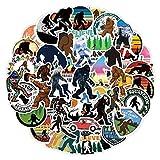 WYDML Bigfoot Savage Graffiti Monopatín Impermeable Maleta de Viaje Teléfono móvil Etiqueta de Equipaje Lindos Juguetes para niños 50 Uds