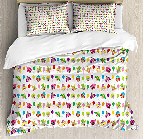 Zozun Clown Duvet Cover Set, Colorful Funny Pattern with Balloons and Colored Funny People Faces Repetition, Decorative 3 Piece Bedding Set with 2 Pillow Shams, Multicolor