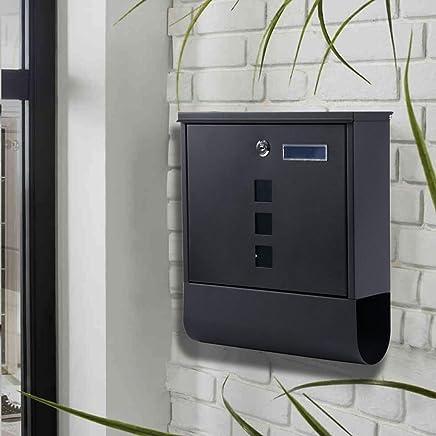 HZBb レターボックス、屋外ヴィラ、屋外壁掛けレインプルーフメールボックス、ポストボックスマガジン提案箱、壁掛け装飾、黒
