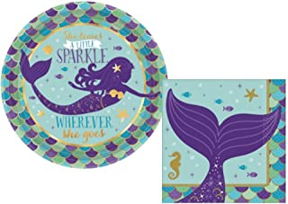 Mermaid Party Supplies: Bundle Includes: Round Dessert Plates and Napkins for 16 People in a Mermaid Wishes Design