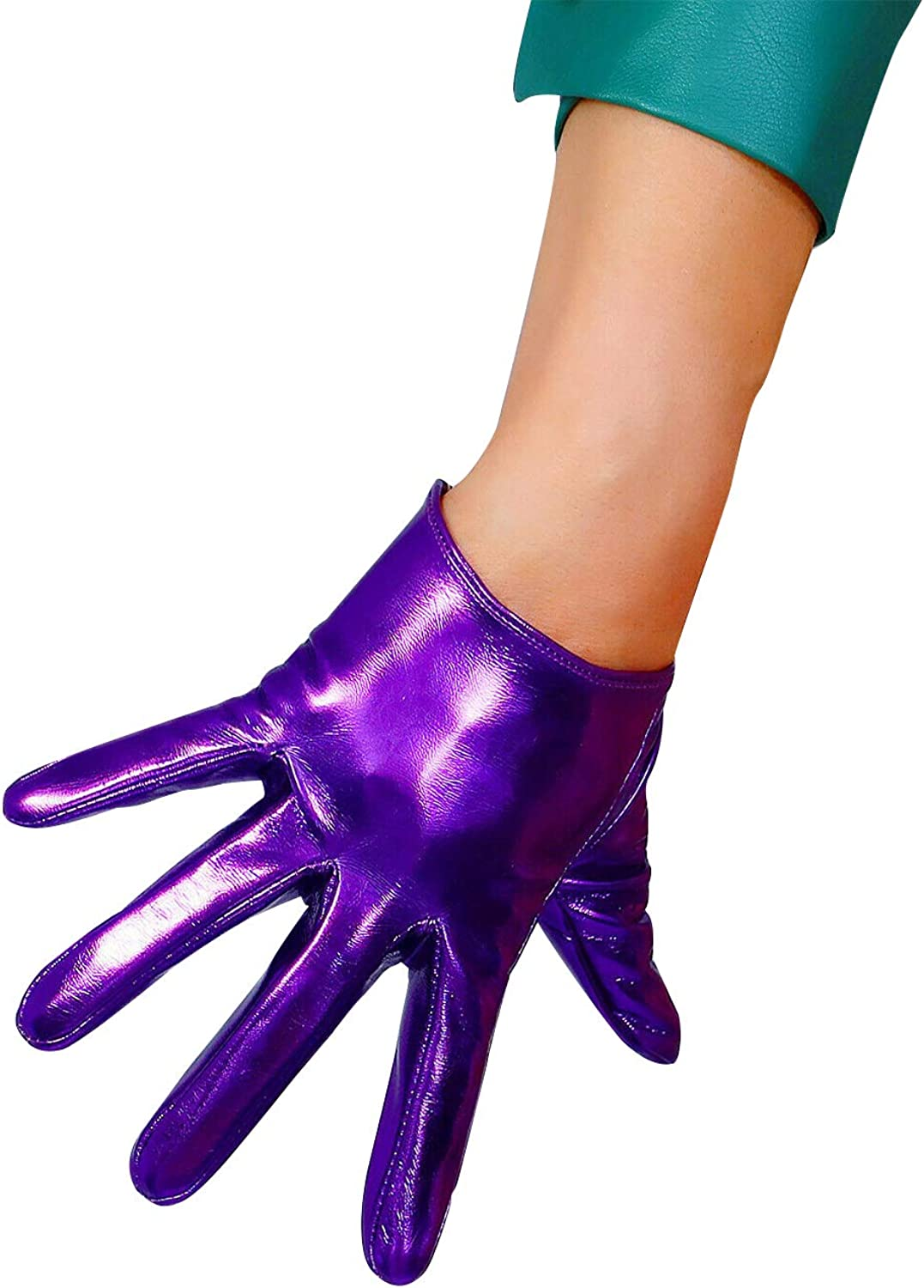DooWay Women Long Opera Gloves Faux Patent Leather PU Stretch Unlined for Costume Party Banquet Shine Purple