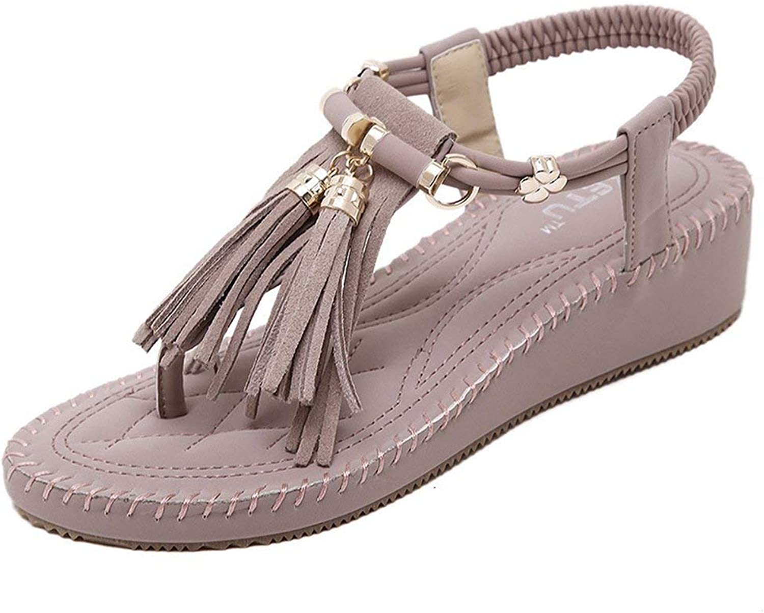 Gedigits Women's Trendy Fringe Ankle Strap Comfort Wedge Platform Thong Sandals Purple 4 M US