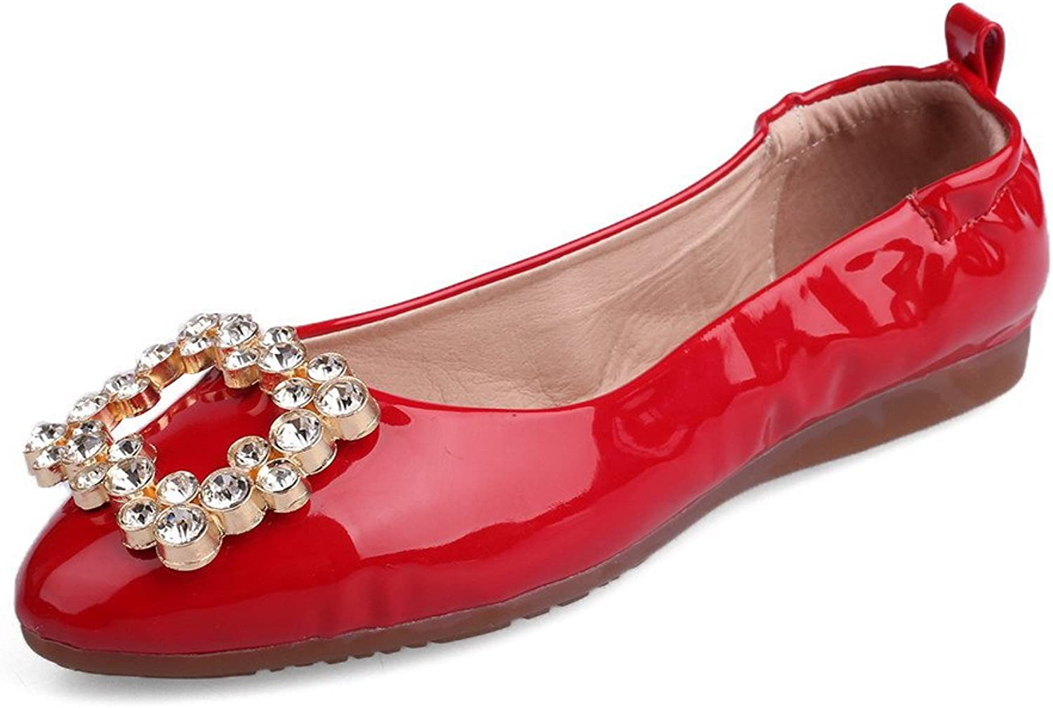 AllhqFashion Women's Patent Leather Solid Pull On Round Closed Toe No Heel Flats-shoes