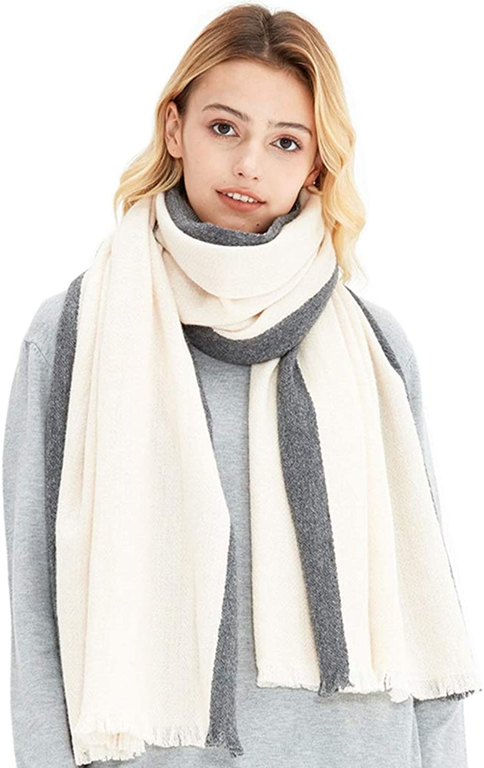 Stoles Scarf Wool Shawl Winter Comfortable Warm Scarf Ladies Dualuse Thickening Lamb Hair Pure Cashmere Soft Fashion Shawl (color   White, Size   200  65 cm)