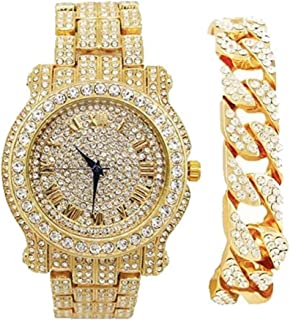Bling-ed Out Round Luxury Mens Watch w/ Bling-ed Out Cuban Bracelet - L0504B - Cuban Gold/Gold